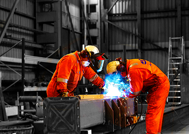 Welders at VIKING Norsafe in-house production of boats and davits